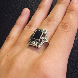 Jewelry - Victorian Era Inspired Onyx Silver Ring